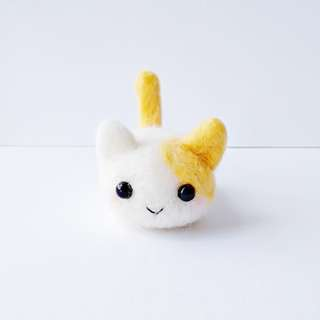 Cat With Orange Ear Patch - Handmade Needle Felted Cute Animal