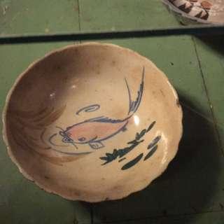 老碗盤 魚 胭脂紅