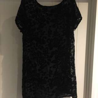 Black Lippy Velvet Dress