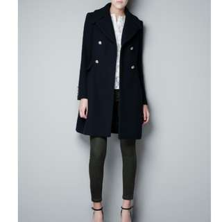 NEW! Zara Navy Blue Military Coat