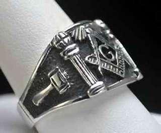 New STERLING SILVER 925 free mason MASONIC RING Size 12