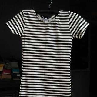 Dress STRIPE NUMBER 61, Bahan Scuba Size S..