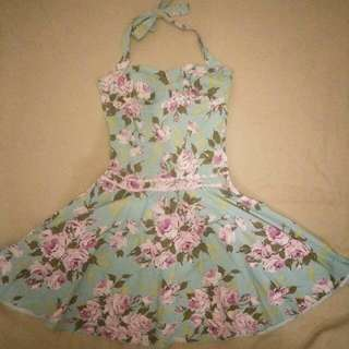 Vintage Style Floral Halter Dress