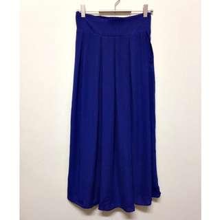 全新💛轉賣~STARMIMI 質感寶藍色前打折飄逸雪紡長裙