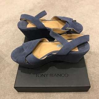Tony Bianco Navy Blue Wedge Heeled Shoes