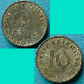 Coin Germany Third Reich 10 Reichspfennig 1944 F km 101 Zinc
