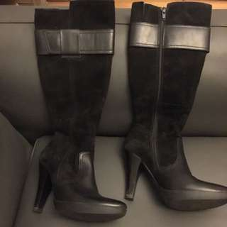 Black Leather And Suede Knee Boots High Heel