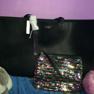 Victoria's Secret Black Leather Tote Bag w/ pouch