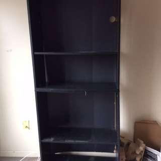 Black Woodgrain Bookshelf