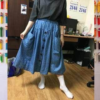 淡藍色點點圓舞曲復古排扣裙