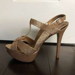 Gold Sparkle Platform Sandals (Size 38)