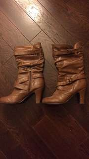 Brown Heeled Boots Women's 7