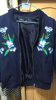 正韓 深藍 刺繡外套