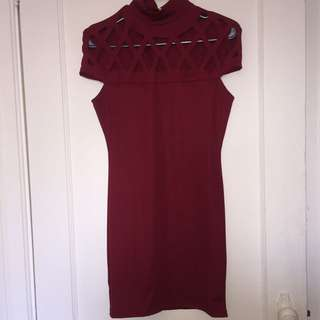 Red Bodycon Dress With Details