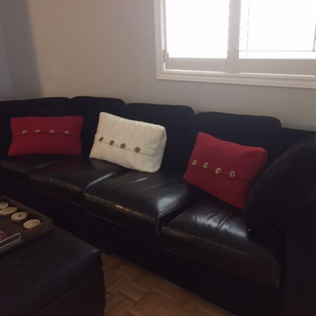 3 Pcs Black sofa