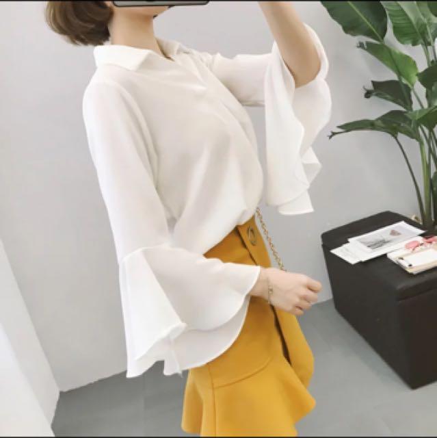 韓版百貨專櫃款喇叭袖雪紡百搭實穿美上衣