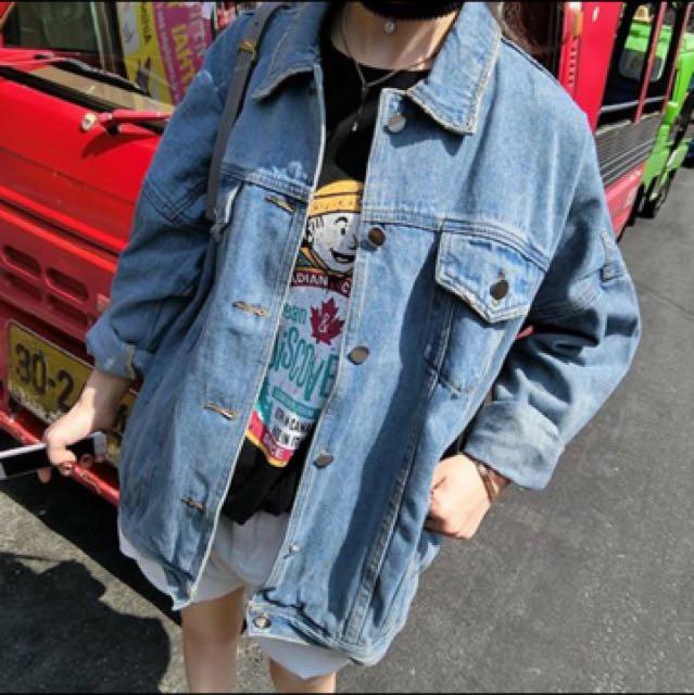 韓版潮流男友風寬版水洗刷色水洗牛仔外套