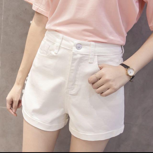 白色高腰牛仔短褲(含運
