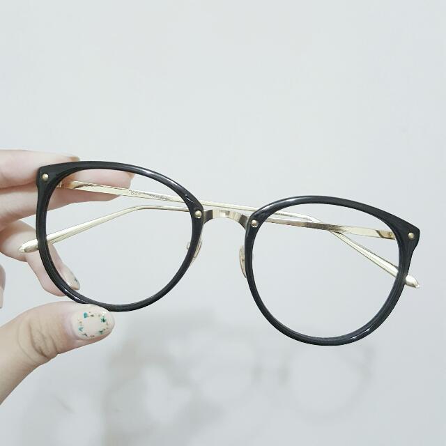 韓妞金屬邊黑框眼鏡 可配鏡片