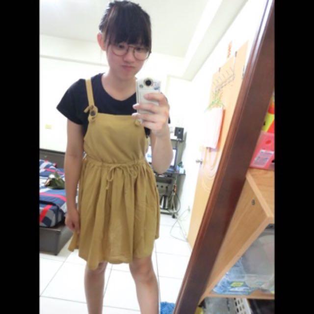 文青 芥末黃 吊帶裙