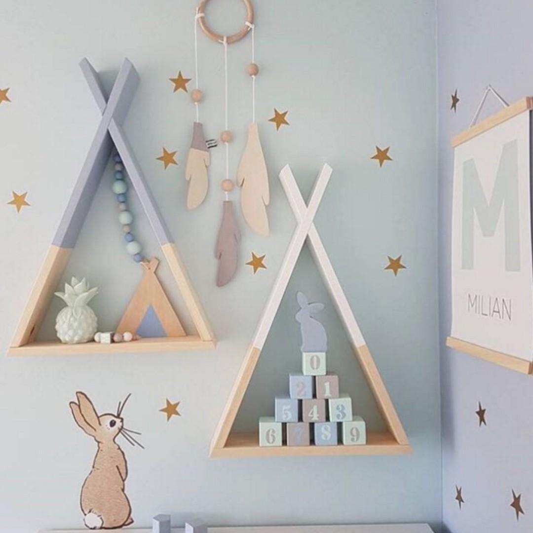 北歐風兒童房置物架 ins置物架 嬰兒房裝飾 拍攝道具 婚禮怖置 zakka置物架