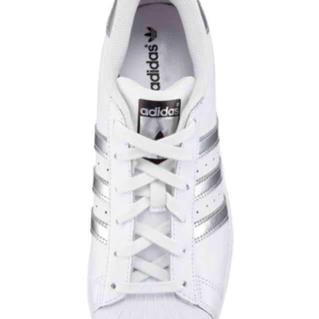 adidas 愛迪達 銀 全新 24號 Superstar Lace Up Sneakers