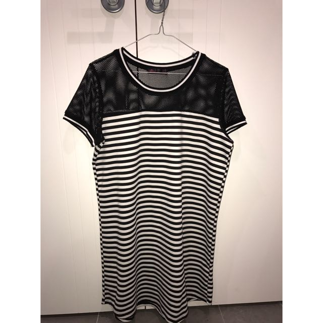 Ally Black And White Striped Mesh Dress- Size Medium