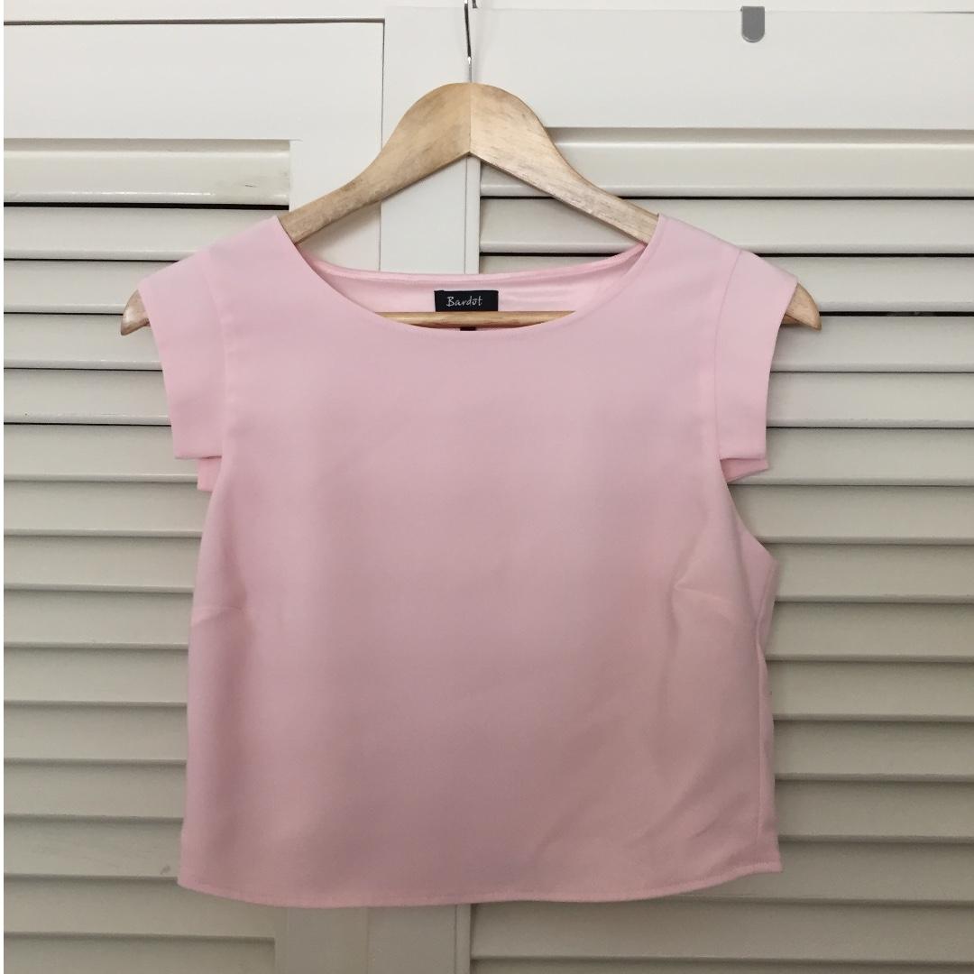 Bardot pink shell crop top (size 6)