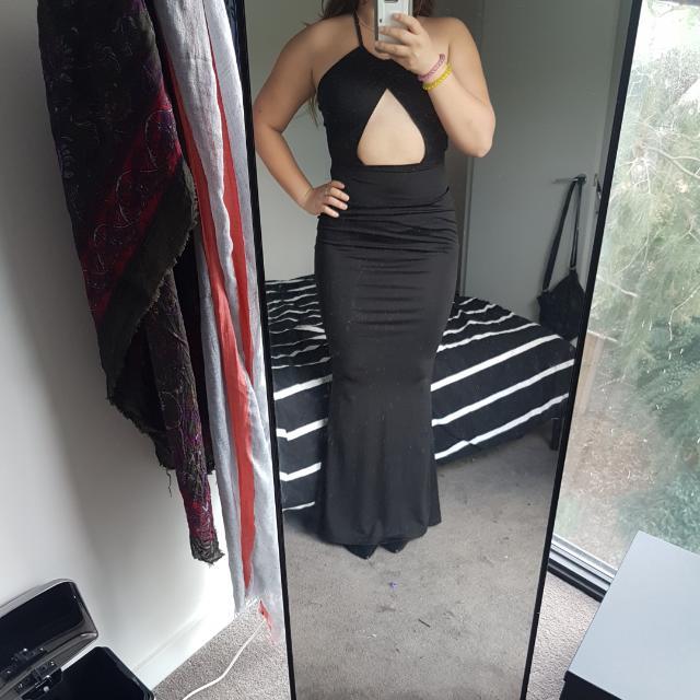 Black Satin Beqei Dress