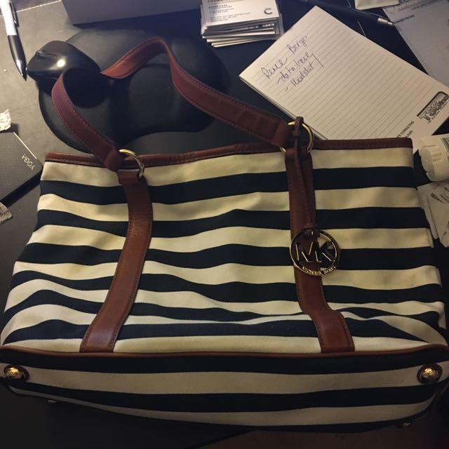 Blue and White Stripped MK Purse