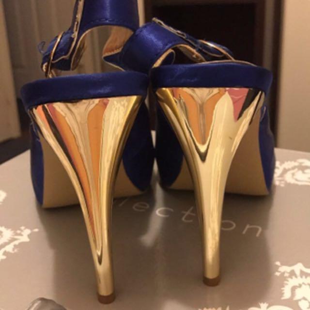 Cobalt Blue And Gold Heels