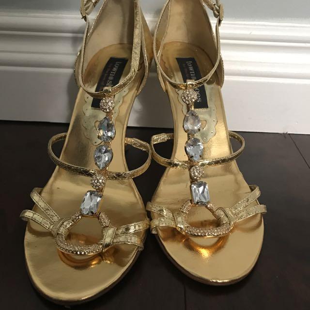 Embellished Gold Heels (Size 38)