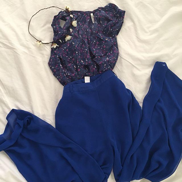 H&M Blue Chiffon Palazzo Pants