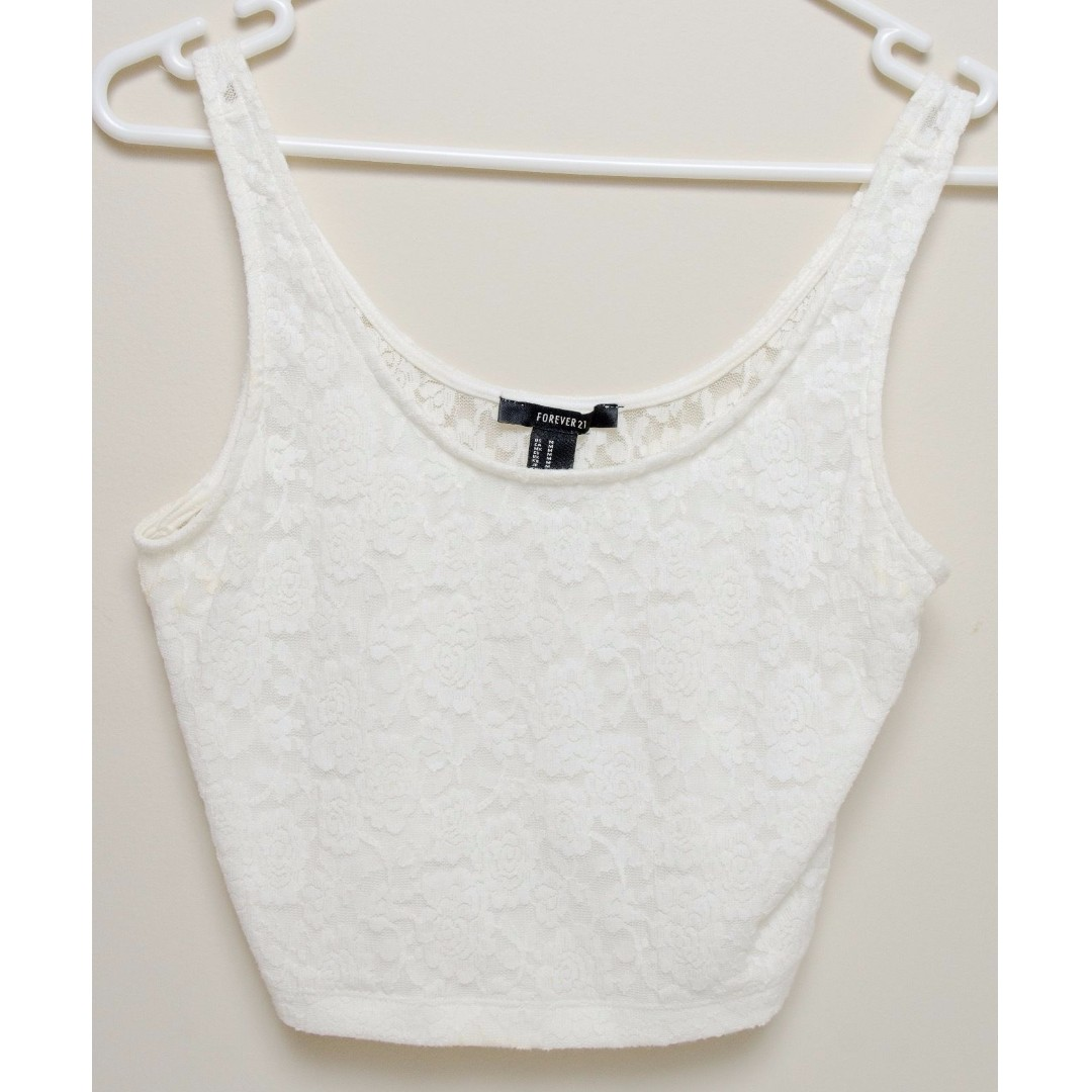 Forever 21 Floral Cream / White Crop Top