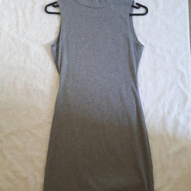 Grey sleeveless turtle neck dress