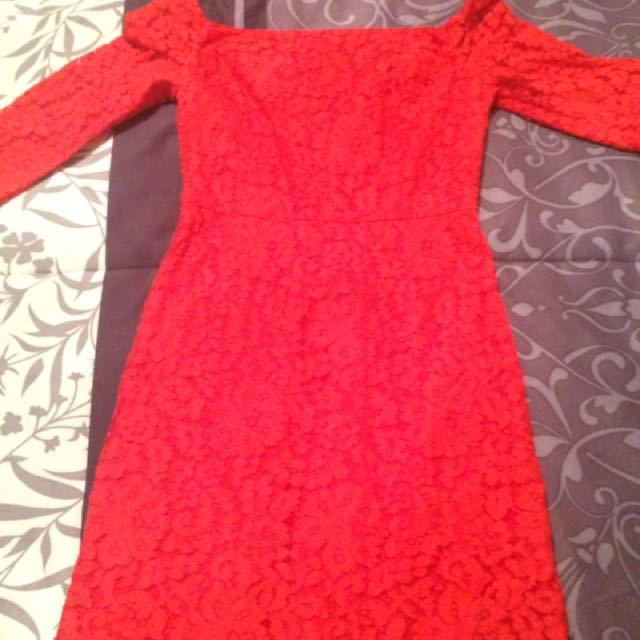 Guess By Marciano Red Lace Dress