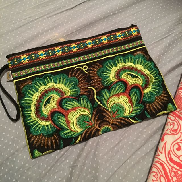 Hand Embroidered Boho Floral Clutch