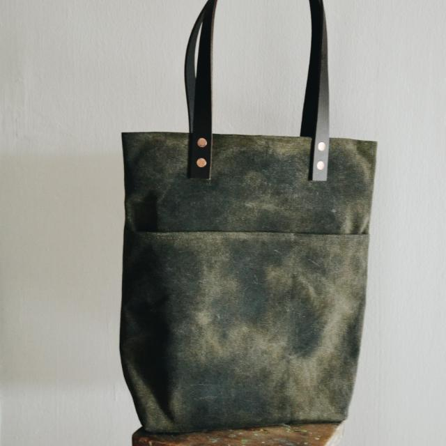 4f6e4d8ced84 Handmade Green or Black Waxed Canvas Tote Bag. Waxed Canvas and ...