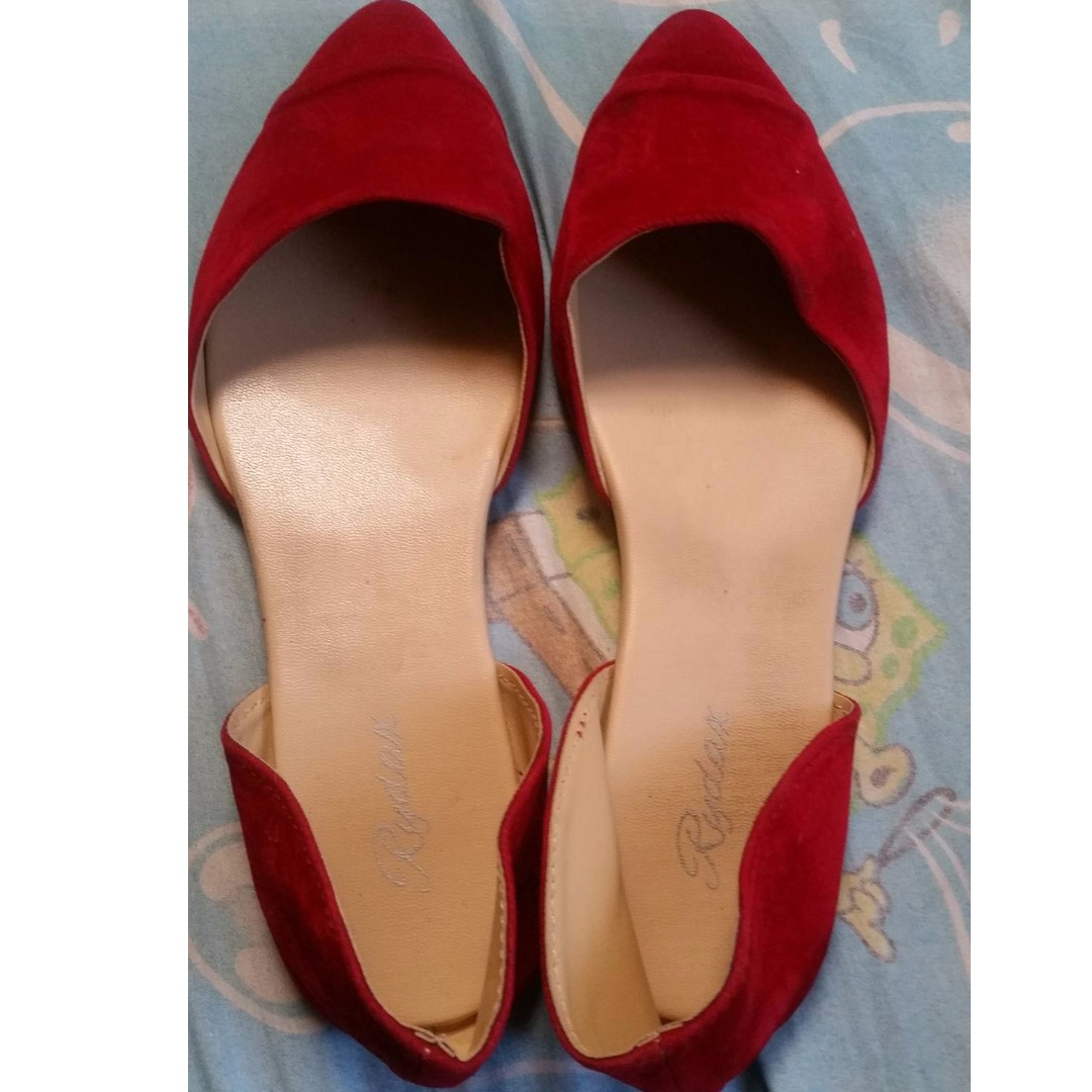 Ladies Red Suede Shoes