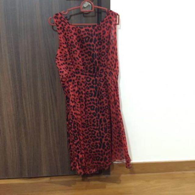 Leopard Print Red Chiffon Dress
