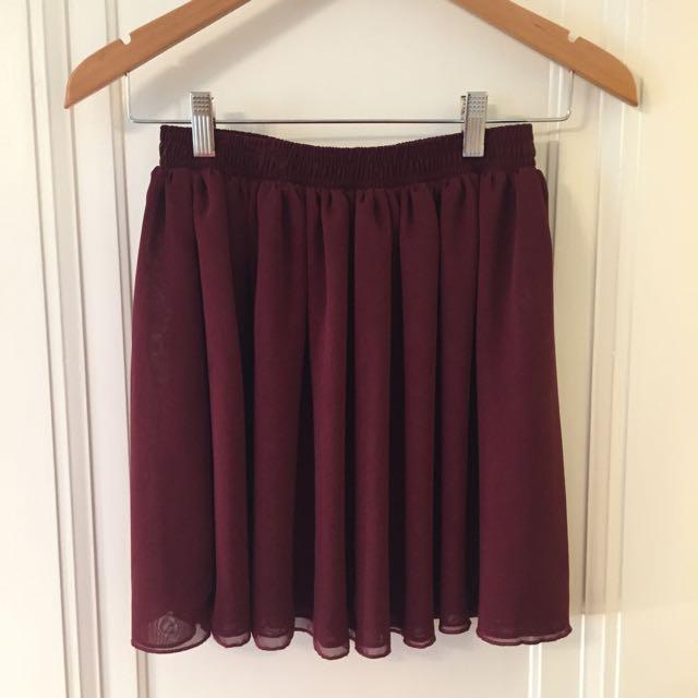 American Apparel Maroon Chiffon Skirt