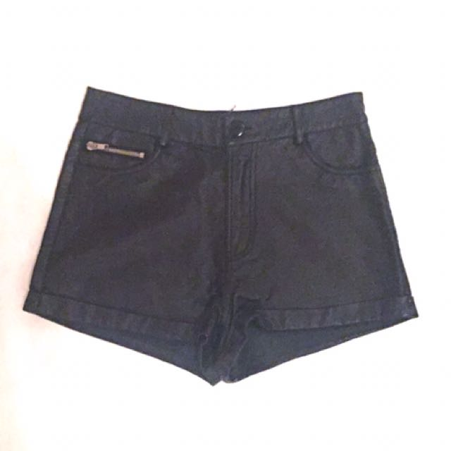 Minkpink Black Leather High Waisted Shorts