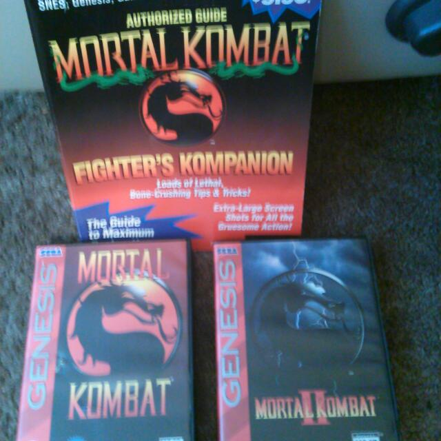 Mortal Kombat 1 And 2 For Sega genesis With Fighters Kompanion Strategy Guide