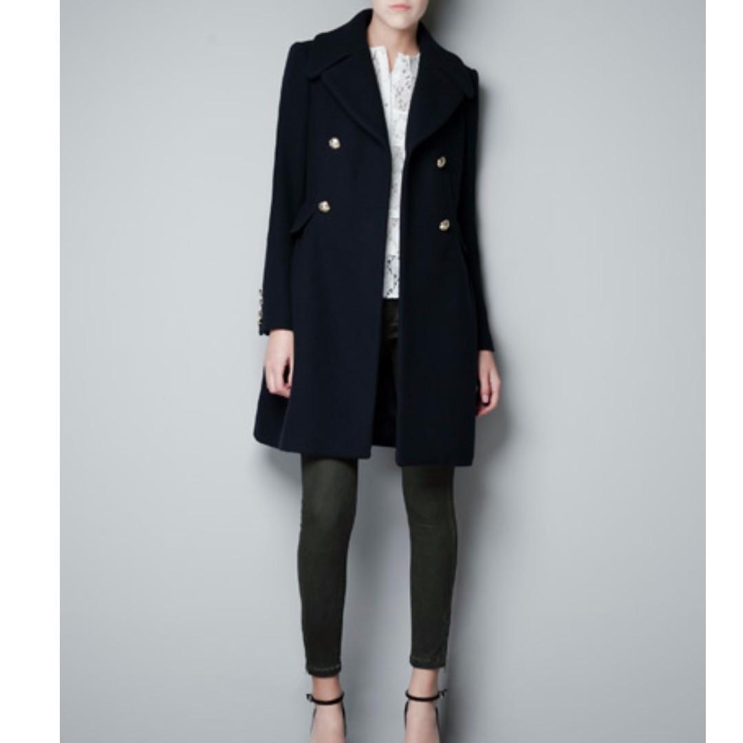 NEW! Zara Navy Blue Military Coat