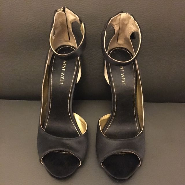 Nine West Black Satin Stilettos With Gold Sparkle Sole Reduced Price