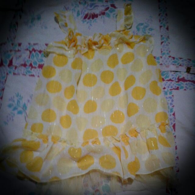 *Pre Loved* 3T Yellow Polka Dots Dress