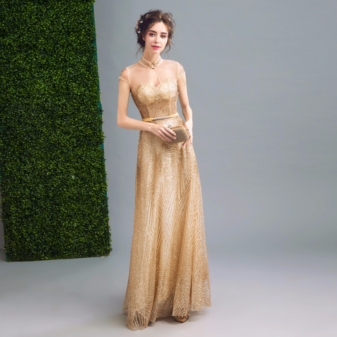 75d6098d Pre order gold maxi sleeveless glitter dinner dress prom party wedding  bridal gown RBP0072, Women's Fashion, Clothes, Dresses on Carousell