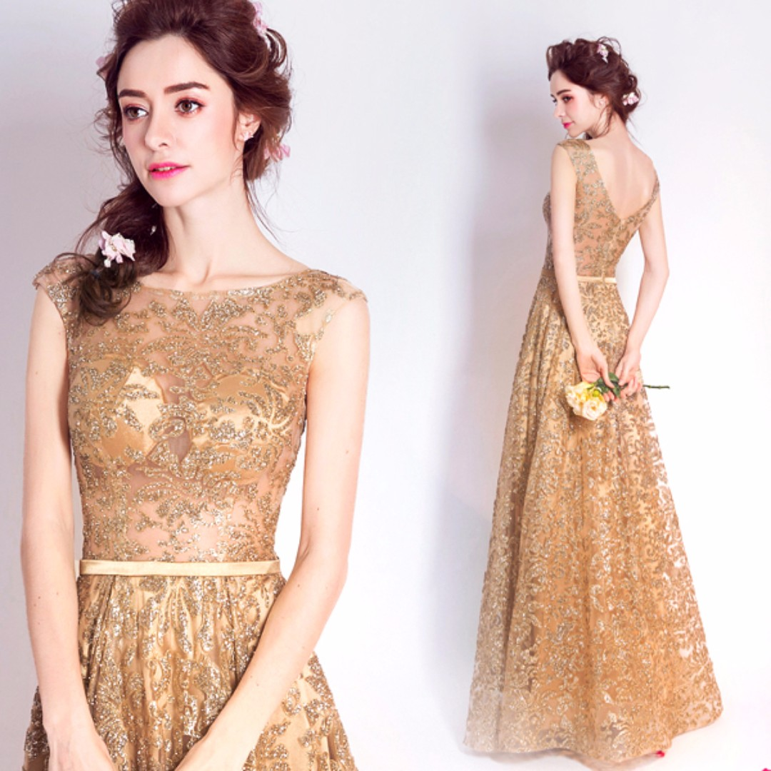 b513398b Pre order gold maxi sleeveless glitter dinner dress prom party wedding  bridal gown RBP0073, Women's Fashion, Clothes, Dresses on Carousell