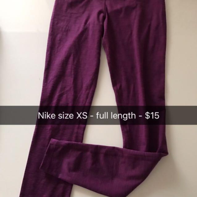 Purple Mid Rise Nike Leggings XS