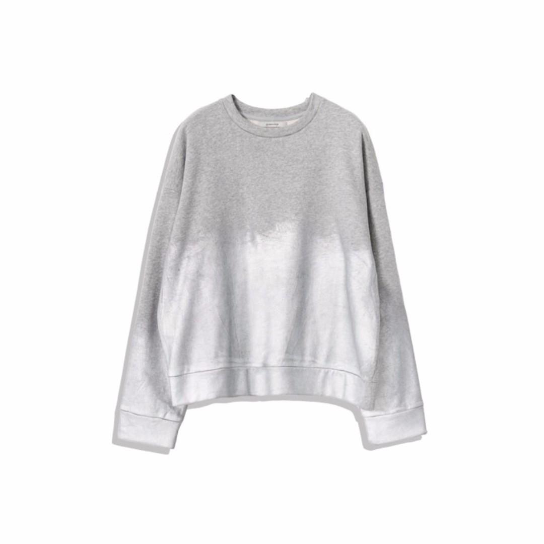 全新💛轉賣~Queen shop 原創商品金屬感油漆暈染刷色長袖上衣大學T-銀系